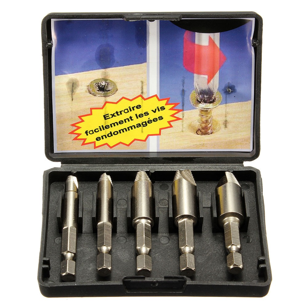 5Pcs/set Screw Stud Bolt Easy Extractor Remover Drill Tool Drill Bit 1/4 Hex Shank Extractor Drill Bit with Case Easy Take Out screw extractor 6pcs screw easy speed out broken screw stud extractor remover drill tool set