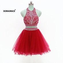 Doragrace vestidos de festa Gorgeous Halter Two-Piece Crystal Beaded Cocktail Party Dresses