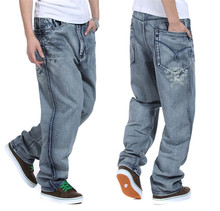 European And American Mens Baggy Jeans Big Size  30 32 34 36 38 40 42 44 46 Boy Skateboard Men Rap Hiphop Jeans Loose