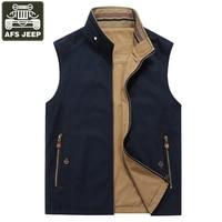 AFS JEEP Vest Men Military Multi pockets Tactical Vest Male Double sided Wear Pure Cotton Waistcoat Men Chaleco Big Size L 5XL
