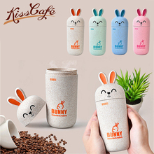 Coffee Cup Cartoon Creative Cute Unique Rabbit Water Bottle Leakproof Portable Hiking Sport Lid
