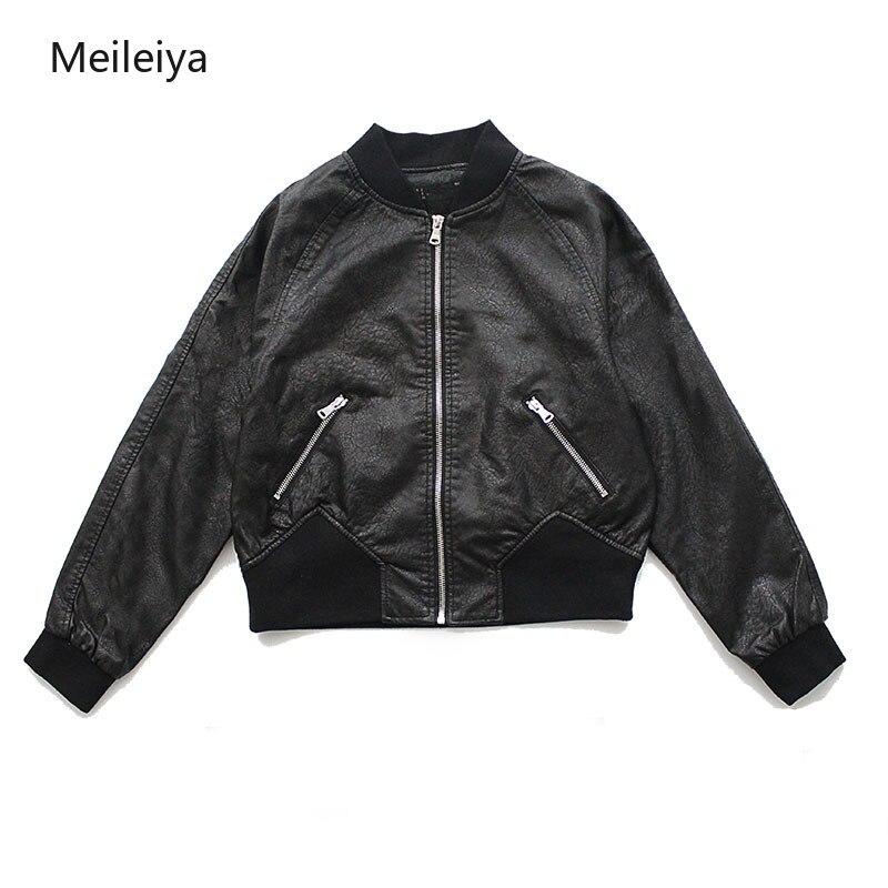 Women's short loose PU   leather   jacket 2019 fall new casual   leather   jacket high waist Haining short jacket