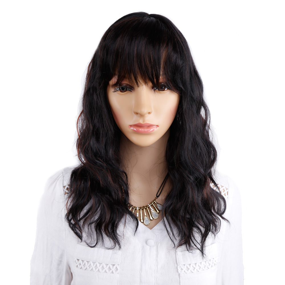 Amir Black Wig With Bangs Natural Wave Wigs for Women Black mix Brown Wig long Bob Synthetic Hair wigs Peruca