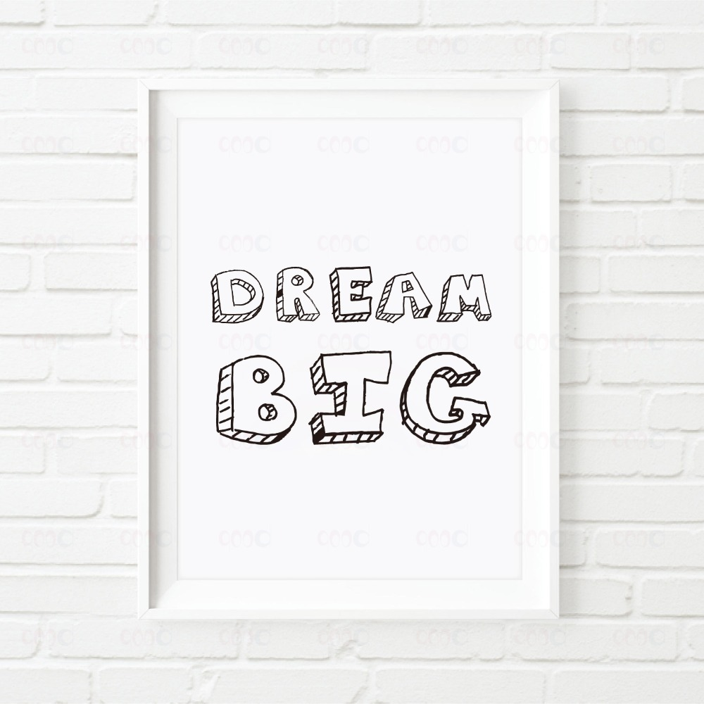 cartoon dream big quote canvas art print wall pictures home decoration painting poster frame not include ye002 in painting calligraphy from home - White Poster Frame