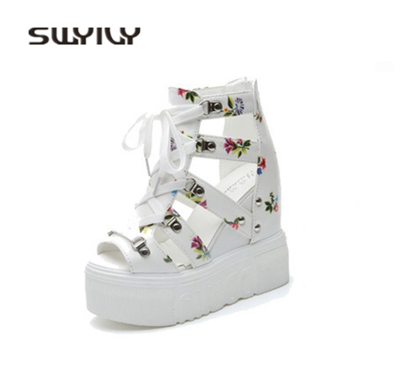 SWYIVY Women Sandals Wedge High Heels 2018 Summer Female 12cm Roman Sandals Shoes Fish Mouth Floral Woman Casual Shoes Platform nemaone new hot sale women sandals summer casual fashion fish mouth shoes wedge sandals women shoes free shipping