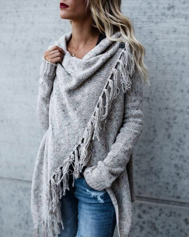 Ladies Dots Knitted Cape Three Button Wrap Shawl Womens Warm Poncho Jumper Top
