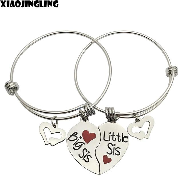 XIAOJINGLING 2Pcs Big Sis Little Broken Heart Shaped Adjustable Bracelet Best Sister Christmas Birthday Gifts Jewelry
