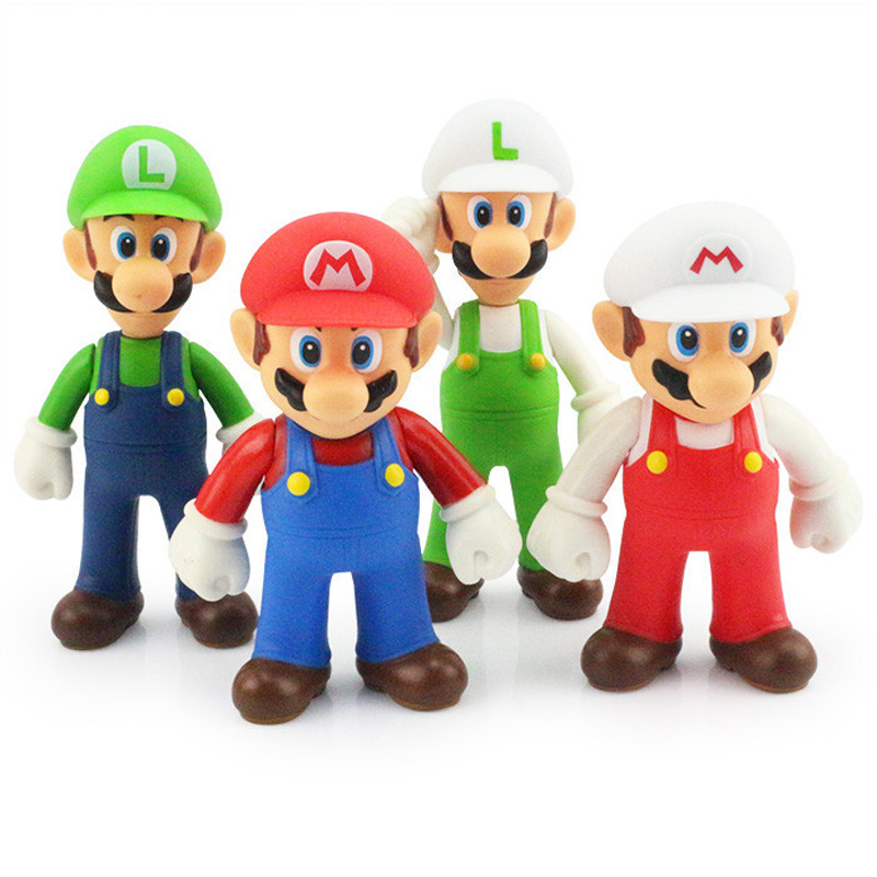 Super Mario Bros Figure Toy 12cm Mario & Luigi PVC Action Figures Collection Model Toys Dolls for Kids Children Christmas Gifts