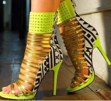 Shoesofdream Women's Coppy Leather Gladiator Shoes Party Open Toe High Heels Summer Yellow Ankle Wrap Lady Sandals