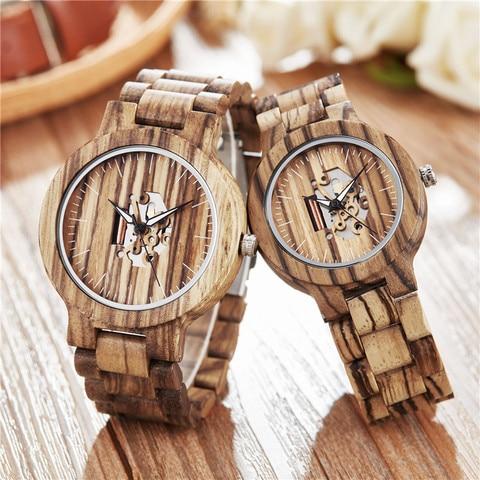 Relógio de Madeira de Quartzo Marca de Luxo Relógio de Pulso do Esporte Gorben Esqueleto Relógios Casal Transparente Top