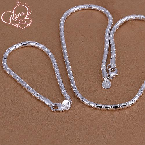 Free Shipping Wholesale silver plated jewelry set, fashion jewlery set Round Two-Piece Jewelry Set For Men S079