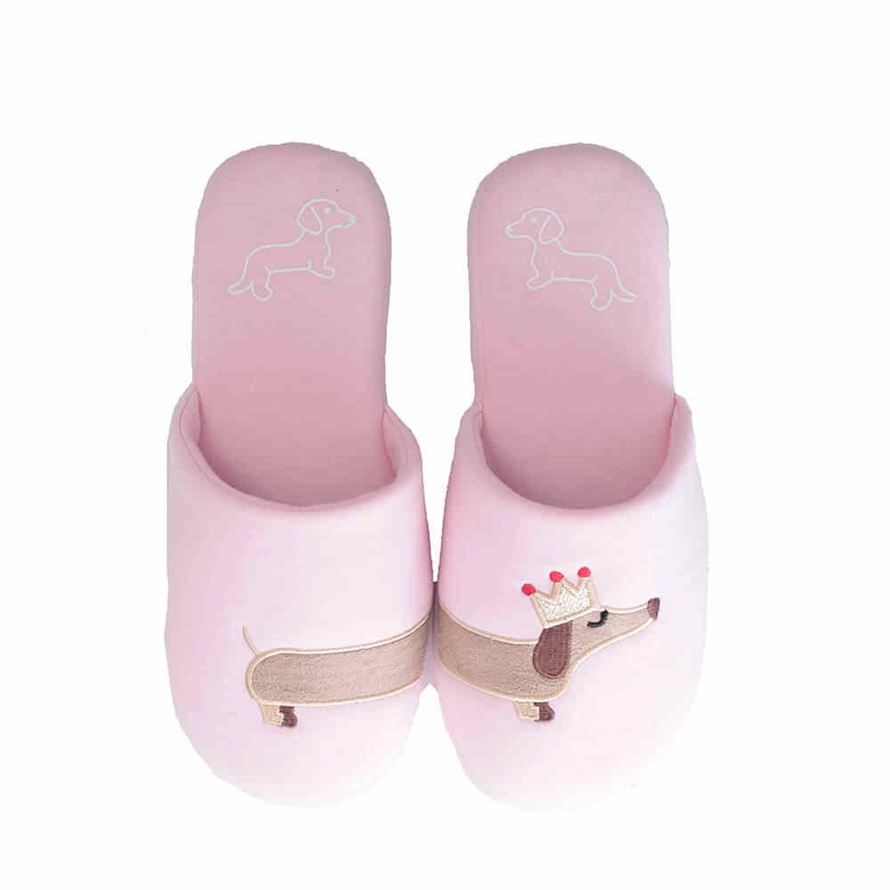 3c99214b9ef5 ... Millffy Women s unicorn slipper Fuzzy Pink and light blue dog plush  cotton Slippers slip on Dachshund ...