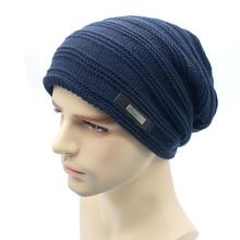 New Knitted men Winter hat Beanies Solid Color Hat men Warm Soft Beanie Double layer plus thick velvet Cap bonnet Gorro Caps