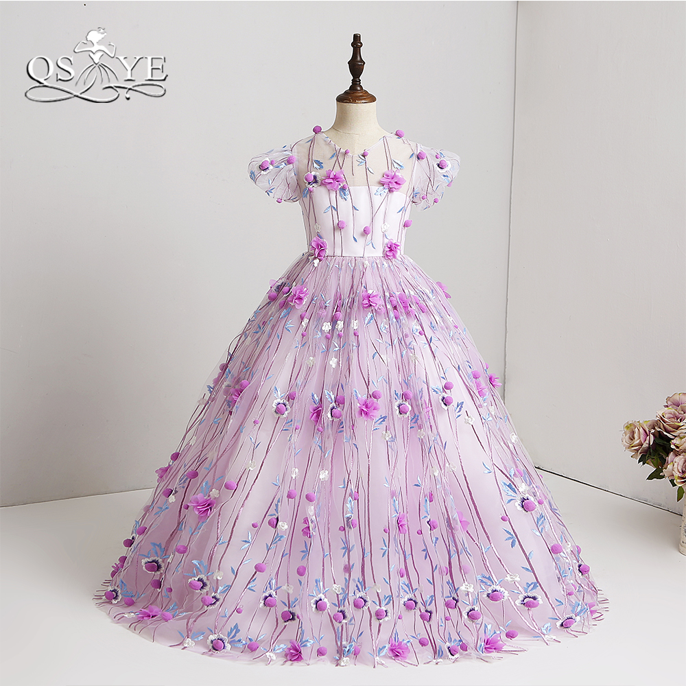 QSYYE 2018 Purple Ball Gown   Flower     Girl     Dresses   3D Floral   Flower   Floor Length Tulle   Girls   Prom   Dress   Party Gown Custom Made