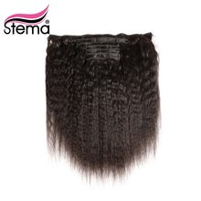 Stema Brazilian Kinky Straight Hair Clip In Hair Extensions 7PCS 18CLIPS And 120g/set 100% Remy Human Hair Natural Color(China)