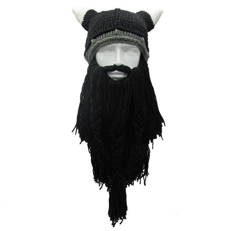 New Mens Barbarian Vagabond Viking Beard Beanie Horn Hats Handmade Winter Warm Birthday Funny Gag Halloween Cap Christmas Gifts