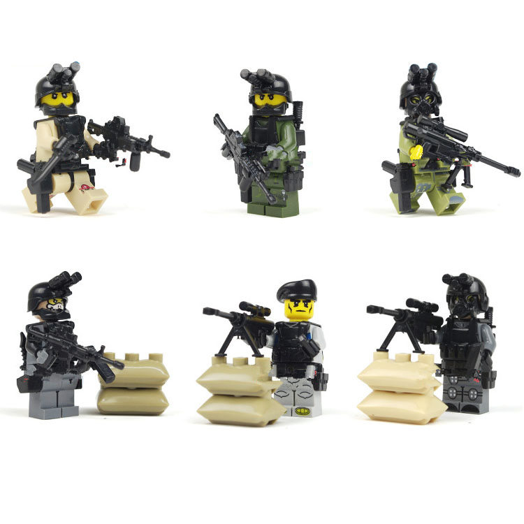 Bainily12pcs-With-Many-Weapons-World-War-Ghost-Assault-Military-Soldier-Compatible-Legoe-Weapon-Model-Building-Block-Bricks-5