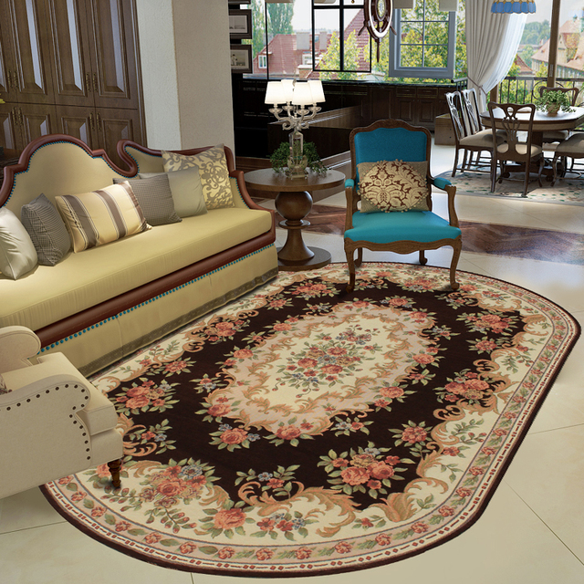 Kingart Oval Shape Living Room Carpet Thick Floor Blanket Yoga Mat - Dining table carpet mat