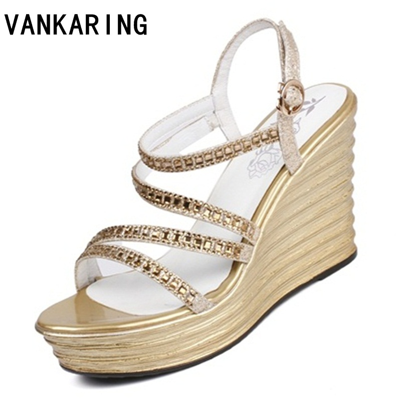 VANKARING women sandals new 2018 fashion summer rhinestone platform sandals casual shoes buckle strap dress shoes silver gold phyanic 2017 gladiator sandals gold silver shoes woman summer platform wedges glitters creepers casual women shoes phy3323