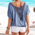 Estilo HQ Plus Size Verão Mulheres Plissado Solta Rendas Costura Sem Encosto Halter Tops Casual Praia Camisetas Moda Tops XHH04588