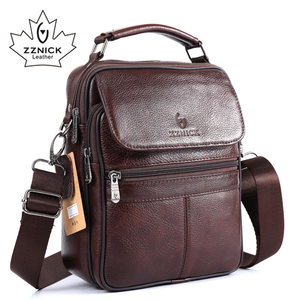 Image 2 - ZZNICK 2017  New Arrival Genuine Leather Bags For Men Shoulder Bag Mens Bag Messenger Bag Portfolio flap pocket 8206