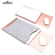 Slim Laptop Sleeve Bag for Macbook Air 11 13 inch Pro Retina Protective PU Leather Case Cover Computer Pouch Mouse Pad Design