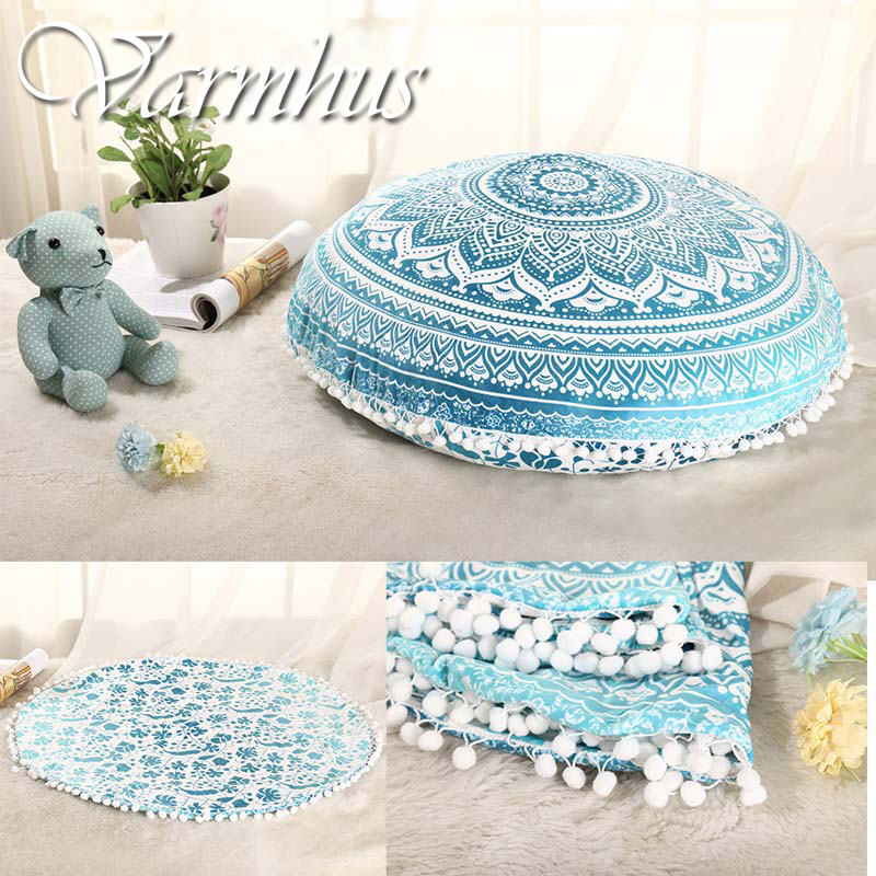 Varmhus New Large Floor Pillow Case Indian Mandala Printing Round Cushion Covers Retro Boho Tapestry Cover Cases Home Decoration