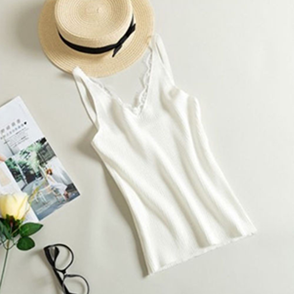 7 Colors Spring Knitted Tank Tops New Hook Flower Lace Solid Stitching V neck Camis Women Slim Outer Wear Shirt Trend 2019 Vest in Blouses amp Shirts from Women 39 s Clothing