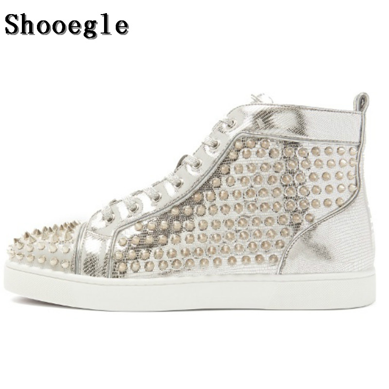 SHOOEGLE High-grade Silver Leather Men Shoes Lace-up High-Top Flat Sneakers Sapatos Masculinos Spike Rivets Shoes Size EU38-47 up grade желания