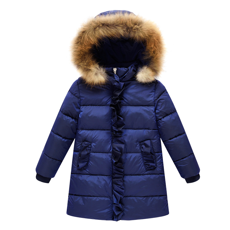 Real Hair Collar Girl In The Long Paragraph Down Jacket Children's Clothing In Children Thick Coat Female Baby Winter NewFashion collar the