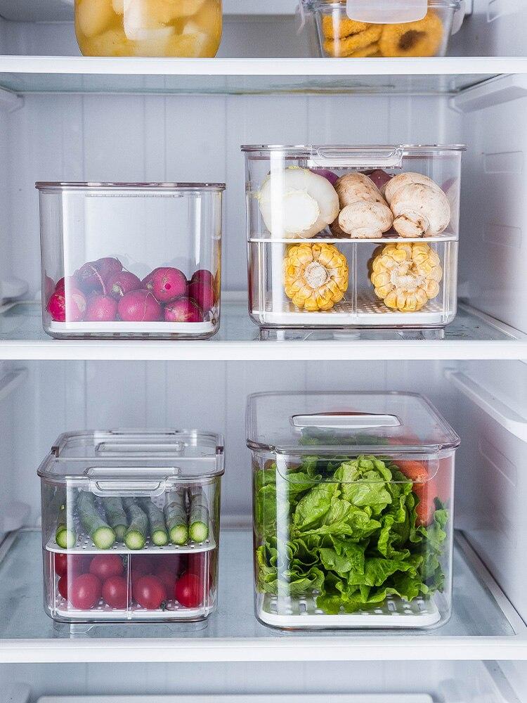 Refrigerator Storage Box Refrigerated Kitchen Home Storage Box Creative Drain Vegetable And Fruit Storage Box