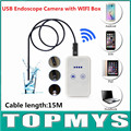 USB mini endoscope with wifi box TM-WE9 with 9mm Lens and 15m Cable wifi pinhole camera Android IOS iphone endoscope camera