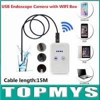 USB mini endoskop mit wifi box TM-WE9 mit 9mm Objektiv und 15 mt Kabel wifi pinhole kamera Android IOS iphone endoskop kamera