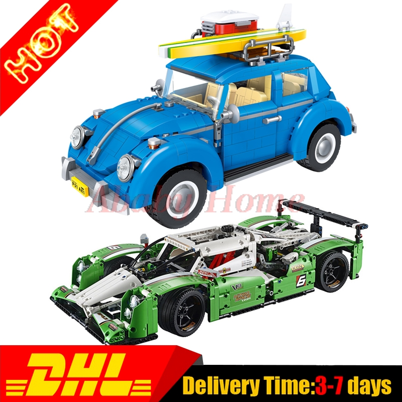 Lepin 20003 24 hours Race Car + Lepin 21003 Beetle Technic Series Building Blocks Bricks Toys Gifts Cloen 42039 10252 new lepin 21003 series city car beetle model educational building blocks compatible 10252 blue technic children toy gift