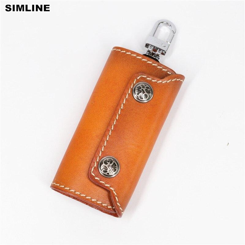SIMLINE Kožená peněženka originální kůže Ženy Muži Vintage ručně vyrobené klíčenky Peněženka Pouzdro na domácnost Klíčenky na klíče Kryt organizéru