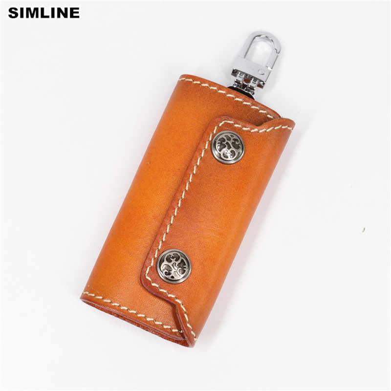 SIMLINE cuero genuino llavero mujeres hombres Vintage hecho a mano cartera monedero caso ama de llaves bolsa llaves organizador cubierta