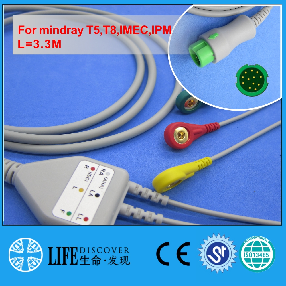 One Piece ECG Cable With 3 Snap Lead Wires For Mindray T5,T8,IMEC,IPM Patient Monitor