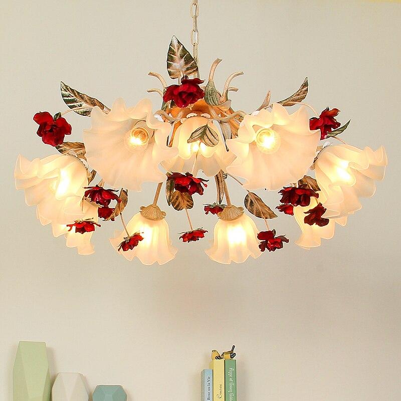 Pastoral style Korean wrought iron pendant light pink rose flower bedroom dining room hanging lighting lamp
