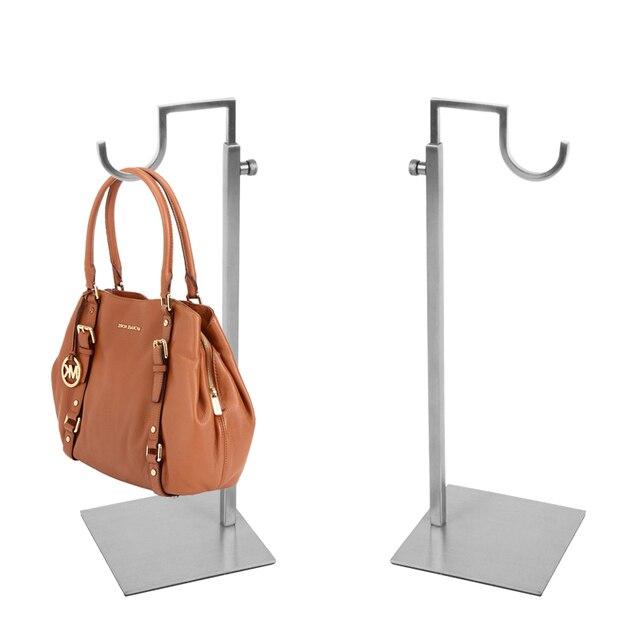 Linliangmuyu Curved Hook Metal Matte Silver Gold Adjule Handbag Display Stand Stainless Steel Top