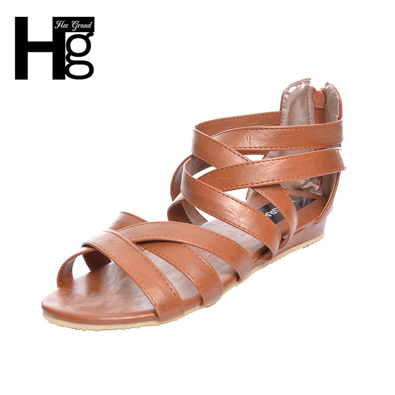 HEE GRAND Gladiator Sandals Summer Style 2017 New Flat with Shoes Woman Zip Casual Sexy Women Shoes Ladies Size 35-39 XWZ1858 timetang 2017 leather gladiator sandals comfort creepers platform casual shoes woman summer style mother women shoes xwd5583