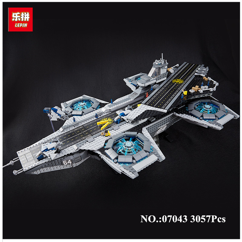 IN STOCK 3057Pcs LEPIN 07043 SY911 Super Heroes The SHIELD Helicarrier Model Building Kits Blocks Bricks Toys Compatible 76042 lepin 07043 3057pcs super heroes the shield helicarrier model building blocks bricks toys kits for children compatible 76042