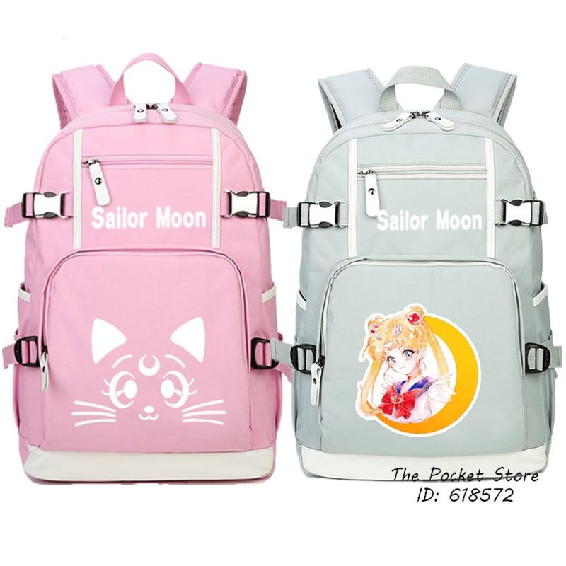 United Anime Sailor Moon Harajuku Canvas Backpacks Cartoon 3d Luna Cat Round Style School Bags Cute Book Bag Rucksack Mochila Feminina Luggage & Bags