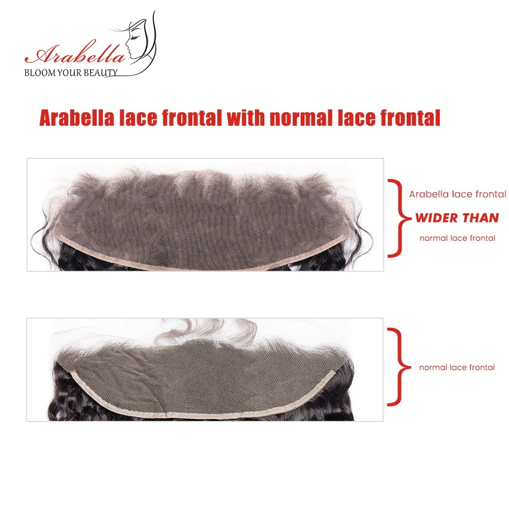 13x4 Water Wave Lace Frontal Ear To Ear Natural Color  Arabella Pre Plucked Bleached Knots Lace Frontal Closure 4