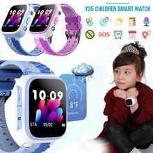 스마트 시계 y35 어린이 sim 카드 컬러 터치 포지셔닝 원터치 sos anti lost 방수 for ios android for kid