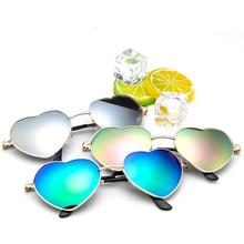 ФОТО cn heart shaped sunglasses multicolour round women metal frame mercury reflective sunglass men brand fashion sun glasses