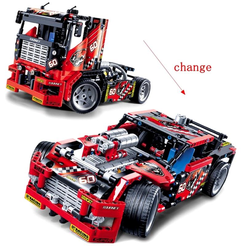 Technic Race Truck 608pcs Building Blocks Transformable Heavy Car Toys For Children Technic voiture