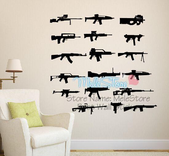 AK 47 Guns Wall Sticker Kids Adesivi Murali House Decoration Stickers Muraux Pour Enfants Chambres Poster DIY Decoracao Quarto