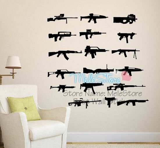 Adesivi Murali Low Cost.Us 9 99 30 Off Ak 47 Guns Wall Sticker Kids Adesivi Murali House Decoration Stickers Muraux Pour Enfants Chambres Poster Diy Decoracao Quarto In