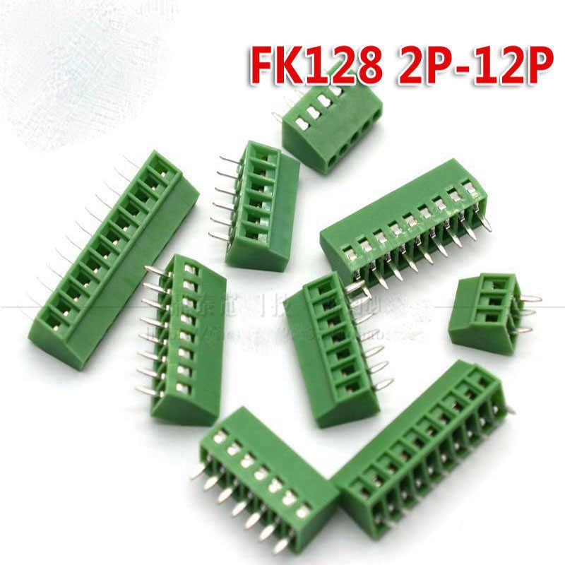 10ชิ้น/ล็อตสกรูPCBขั้วKF128-2.54mmทองแดงสิ่งแวดล้อม2จุด/3/4/5/6/7/8/9/10จุดสีเขียว