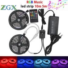 ZGX SMD 5050 Music synch RGB LED Strip light 10m 5m 60leds/m no waterproof  Flexible Decor DC 12V